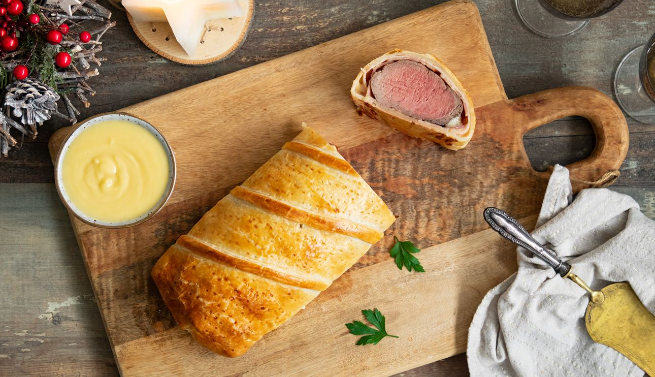 Solomillo Wellington con bacon y queso
